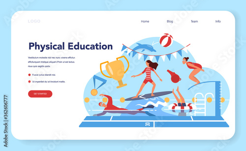 Physical education lesson school class web banner or landing page.
