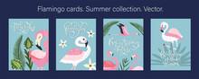 Pink Flamingo Bird Vector Card...