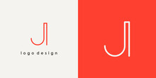 Abstract Initial Letter J Logo. Red Shape Linear Style Isolated On Double Background. Usable For Business And Branding Logos. Flat Vector Logo Design Template Element
