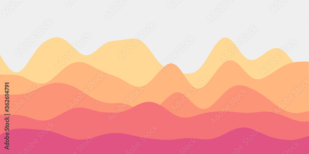 Fototapeta Abstract pink yellow hills background. Colorful waves trendy vector illustration.