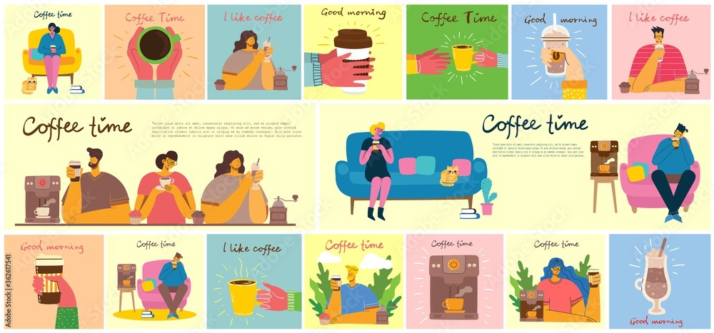 Fototapeta Smiling people friend drinking coffee and talking. Coffee time, break and relaxation vector concept cards. Vector illustration in flat design style