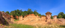 Phae Mueang Phi Forest Park, Sandstone Erosion Canyon, Famous Tourist Destination In Phrae, Thailand