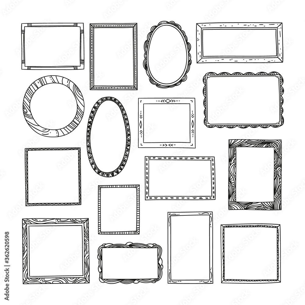 Fototapeta Hand drawn frames big set. Cute cartoon style borders. Vector design.