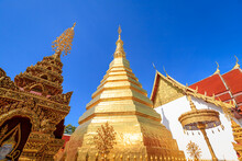 Golden Pagoda For Year Of Tiger Zodiac At  Wat Prathat Cho Hae Temple In Phrae Province, North Of Thailand