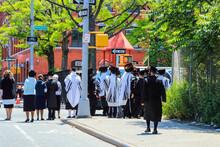 Undentified Orthodox Jews Wearing Special Clothes On Shabbat, In Williamsburg, Brooklyn, New York