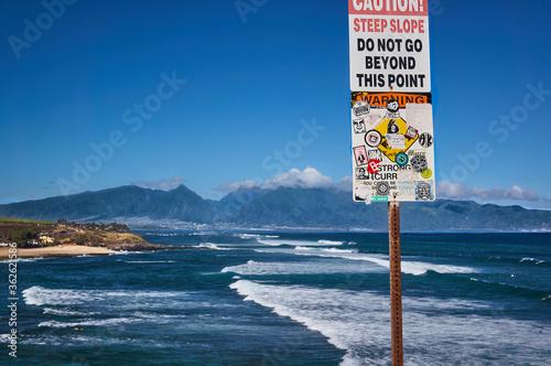 Photo Maui Hawaii Steep Slope Warning Sign