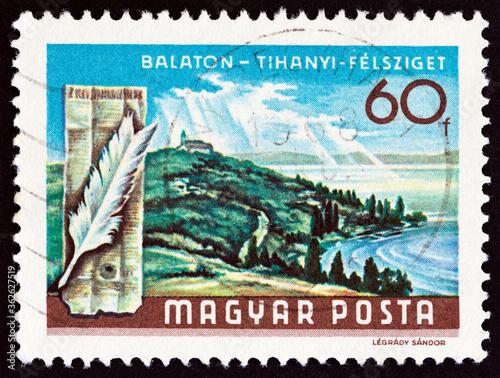 Tela Tihany peninsula, tower and feather (Hungary 1968)