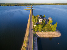 Aerial Panoramic View To Old Pumping Station On Dam At Severskiy