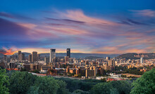 Pretoria City During Twilight With Colourful Clouds