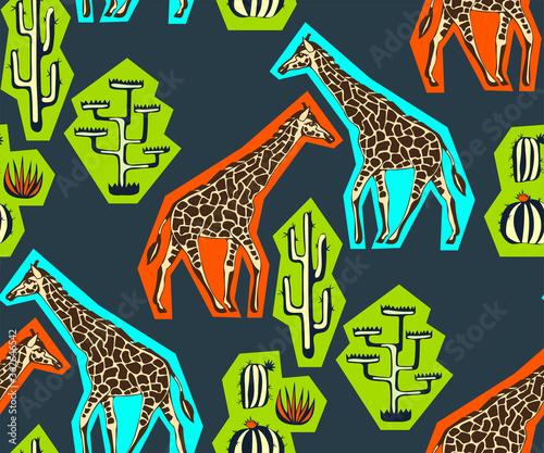 Fotografie, Obraz Vector background hand drawn doodle giraffe