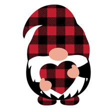 Valentine's Day Gnome Vector. Plaid Heart Gnome Vector