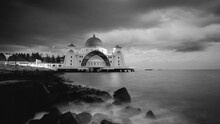 Straits Mosque Of Malacca In Black And White.