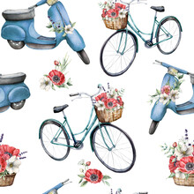 Watercolor Seamless Pattern With Blue Bicycle With Basket And Scooter With Anemones. Hand Painted Summer Illustration With Flowers Isolated On White Background. For Design, Print, Fabric, Background.