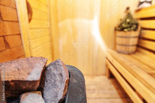 Cuadros en Lienzo Interior details Finnish sauna steam room with traditional sauna accessories basin birch broom