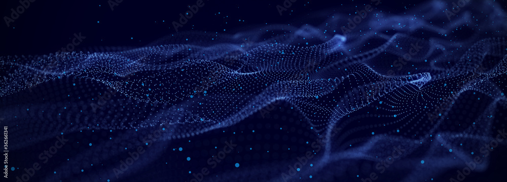 Fototapeta Dynamic particles wave. Blue dots on black background. Digital landscape. 3d rendering. Big data visualization 3D. Futuristic backdrop for design, wallpaper.