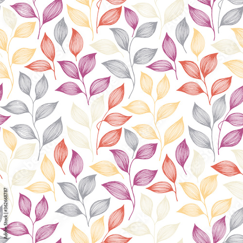 Obraz Wrapping tea leaves pattern seamless vector illustration. - fototapety do salonu