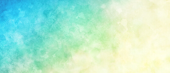 Blue green and white watercolor background painting with cloudy distressed texture and marbled grunge, soft yellow beige lighting and gradient blue green colors