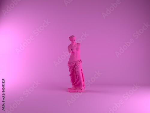 Cuadros en Lienzo 3D rendering of Venus de Milo, ancient Greek statue in pastel pinkish color