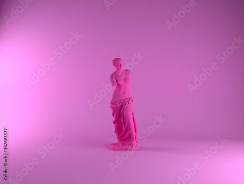 Fotografía 3D rendering of Venus de Milo, ancient Greek statue in pastel pinkish color