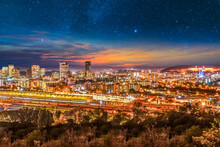 Pretoria City Lit Up At Night With Twilight And Stars In The Sky In Gauteng South Africa