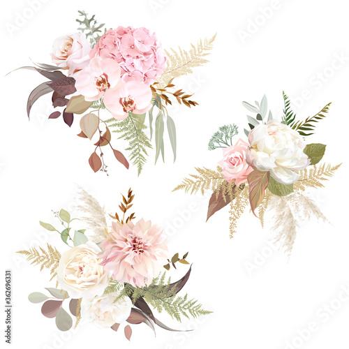 Luxurious beige trendy vector design floral bouquets Wallpaper Mural