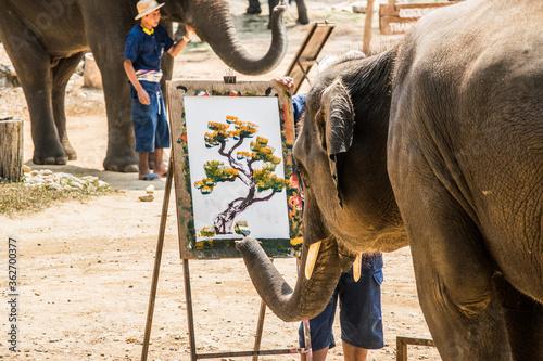Elephant Painting On Canvas Using Paintbrush