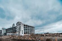 Detroit Abandoned Factory Warehouse Crumbling Into Nightmare Apocalypse - Tilt Shift Winter Landscape