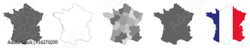 Foto vector map flag of France isolated on white background