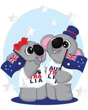 Cute Cartoon Couple Of Koala Bear. 26th Of January Happy Australia Day Poster.