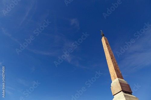 Canvas-taulu Low Angle View Of Obelisk Against Blue Sky In Rome, Piazza Del Popolo, Italy