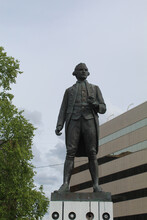 Captain James Cook Statue In Resolution Park In Anchorage Alaska