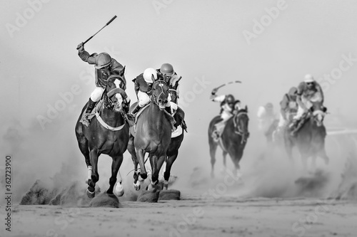 Fotografie, Obraz Jockeys Riding Horses During Race