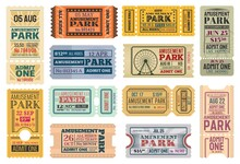 Tickets To Amusement Park, Funfair Carnival Vector Vintage Admit Coupons. Fun Fair Amusement Park Rides Tickets To Ferris Wheel And Roller Coaster, Kids And Family Theme Park Carousel Attractions