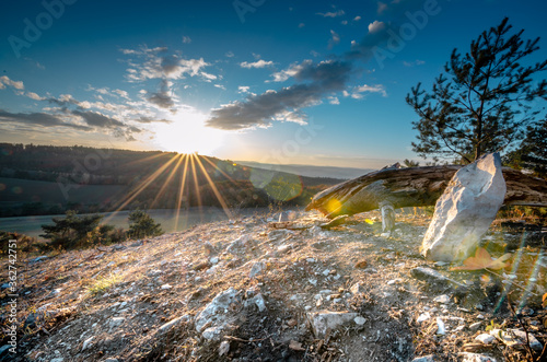 Tablou Canvas Panoramic View Of Land Against Bright Sun