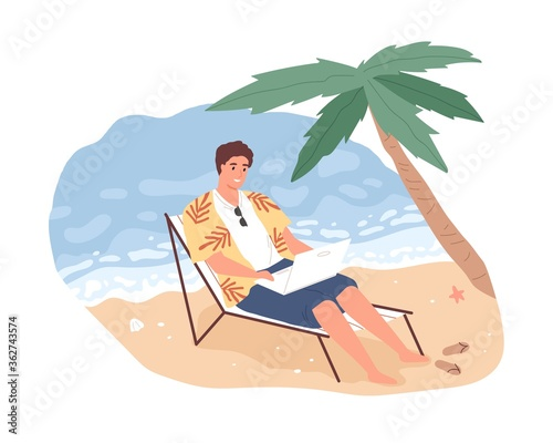 Fototapeta Joyful freelancer male working remotely on beach use laptop vector flat illustration. Smiling man on chaise-longue chatting or surfing internet isolated. Cheerful modern guy relaxing enjoy vacation obraz