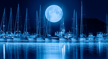 """Sailing Boats In Marina At Night Amazing Moon Rising In The Background -  Selimiye Turkey """"Elements Of This Image Furnished By NASA """""""