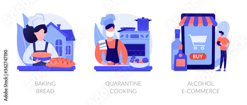 Homemade food and delivery abstract concept vector illustration set. Baking bread, quarantine cooking, alcohol e-commerce, family recipe, baking yeast, online grocery and wine abstract metaphor.