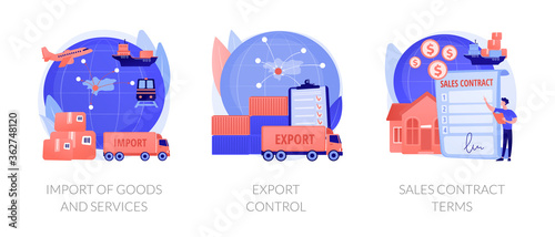 Global trade, distribution and logistics metaphors. Goods and services import, export control, sales contract terms. Maritime, air and land shipment abstract concept vector illustration set.