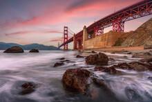 Long Exposure Capture Of The Golden Gate Bridge At Sunset On Marshall's Beach