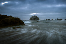 Face Rock In Bandon, Oregon, A Famous Rock Formation. Wide Angle.