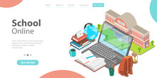 3d Online School Concept, Landing Page Template For Website, Distance Courses And E-learning, Back To Digital School.