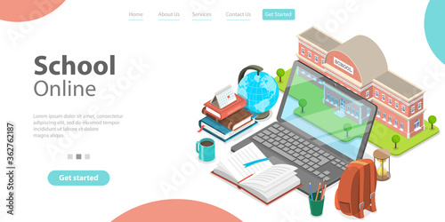 3d Online School Concept, Landing Page Template for Website, Distance Courses and E-learning, Back to Digital School Fototapete