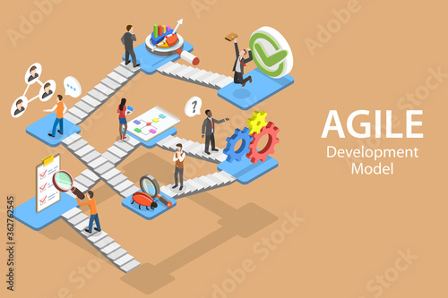 Photo Isometric Flat Vector Concept of Agile Software Development Methodology With Main Steps: Requirements, Design, Development, Testing, Customer Collaboration, Review, Product Launch