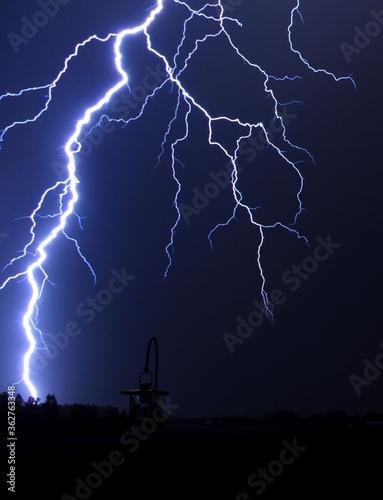 Fototapeta Low Angle View Of Lightning Falling On Land At Night obraz
