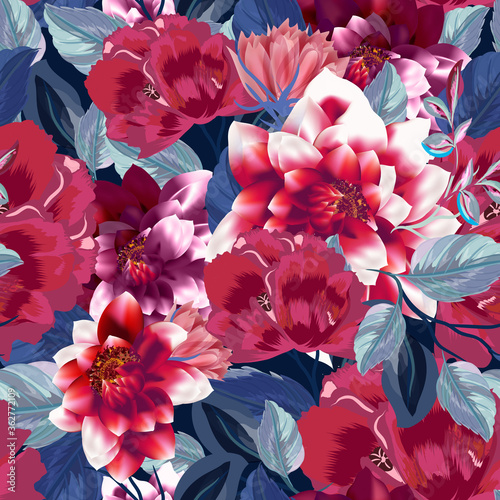 Cuadros en Lienzo Beautiful vector illustration with poppy flowers, herbs, blue leaves and dahlias