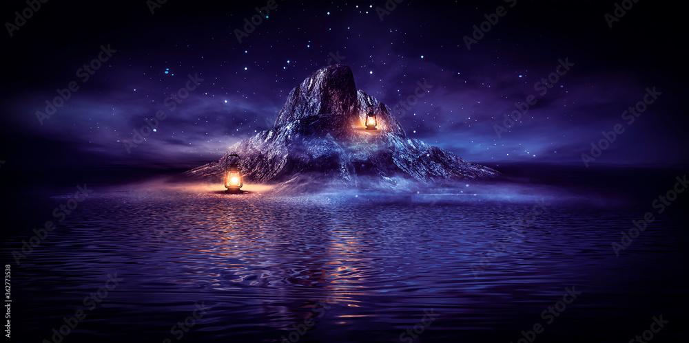Fototapeta Fantasy night landscape seascape with mountains and islands. Futuristic neon light, night sky, reflection in the water of light, moonlight.