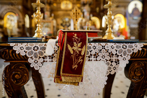 Fotografie, Tablou Details with accessories in an Orthodox Church needed for an Orthodox baptism