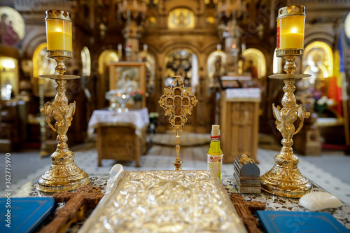 Tablou Canvas Details with accessories in an Orthodox Church needed for an Orthodox baptism