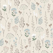 Floral Seamless Pattern With Abstract Flowers, Branches, Leaves, Pine Cones And Plants, Botanical Vector Illustration In Vintage Style.