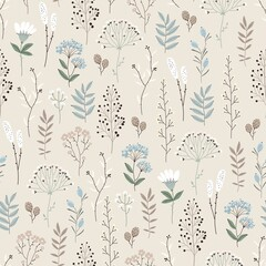 Fototapeta Malarstwo Floral seamless pattern with abstract flowers, branches, leaves, pine cones and plants, botanical vector illustration in vintage style.
